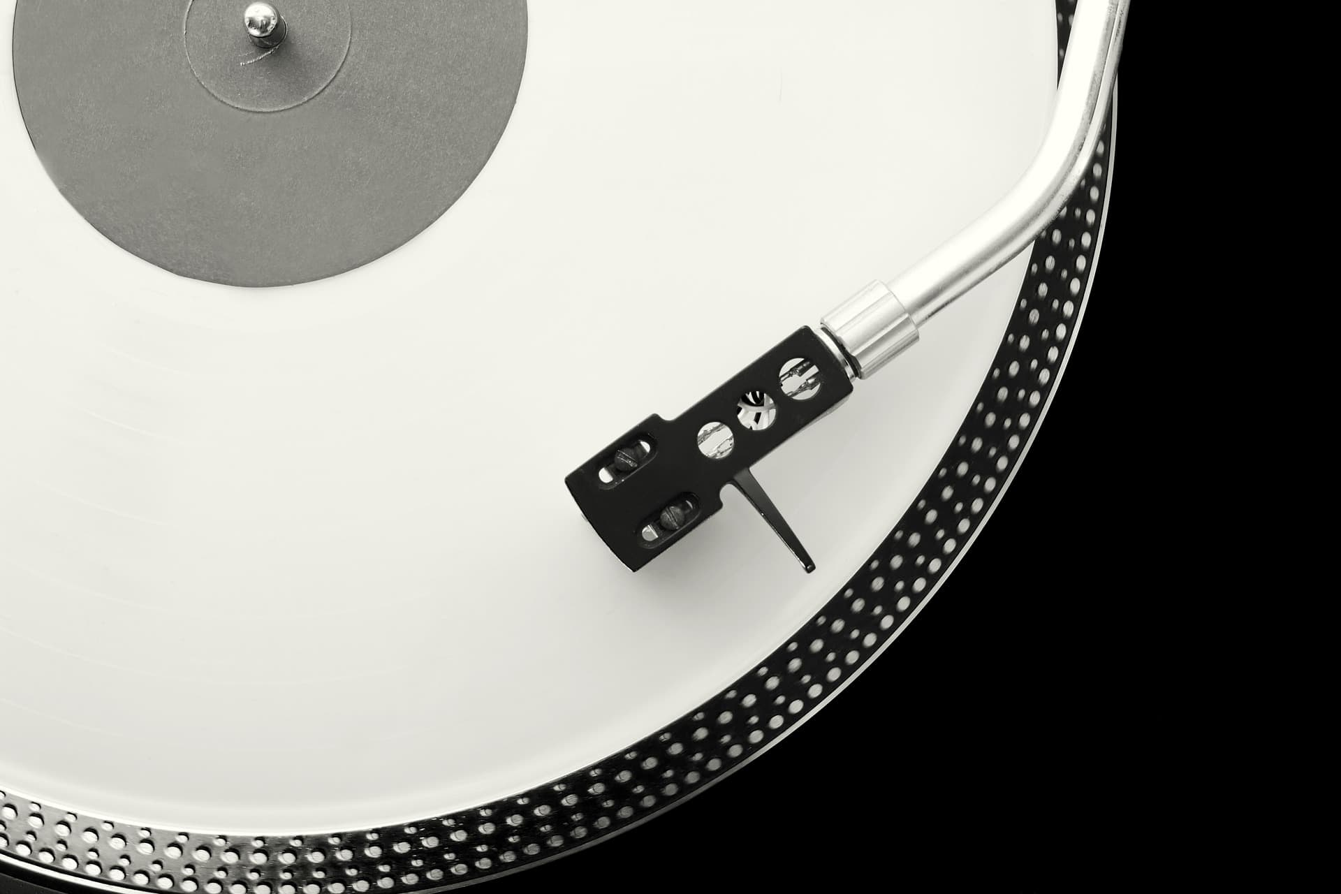 White Record on a Turntable