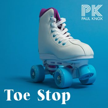 Toe Stop cover art roller skate on a blue background